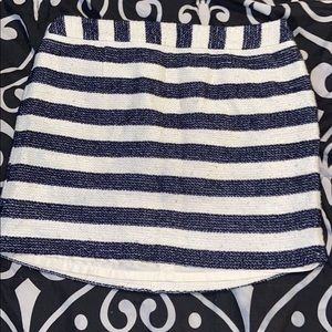 Blue and white stripped skirt
